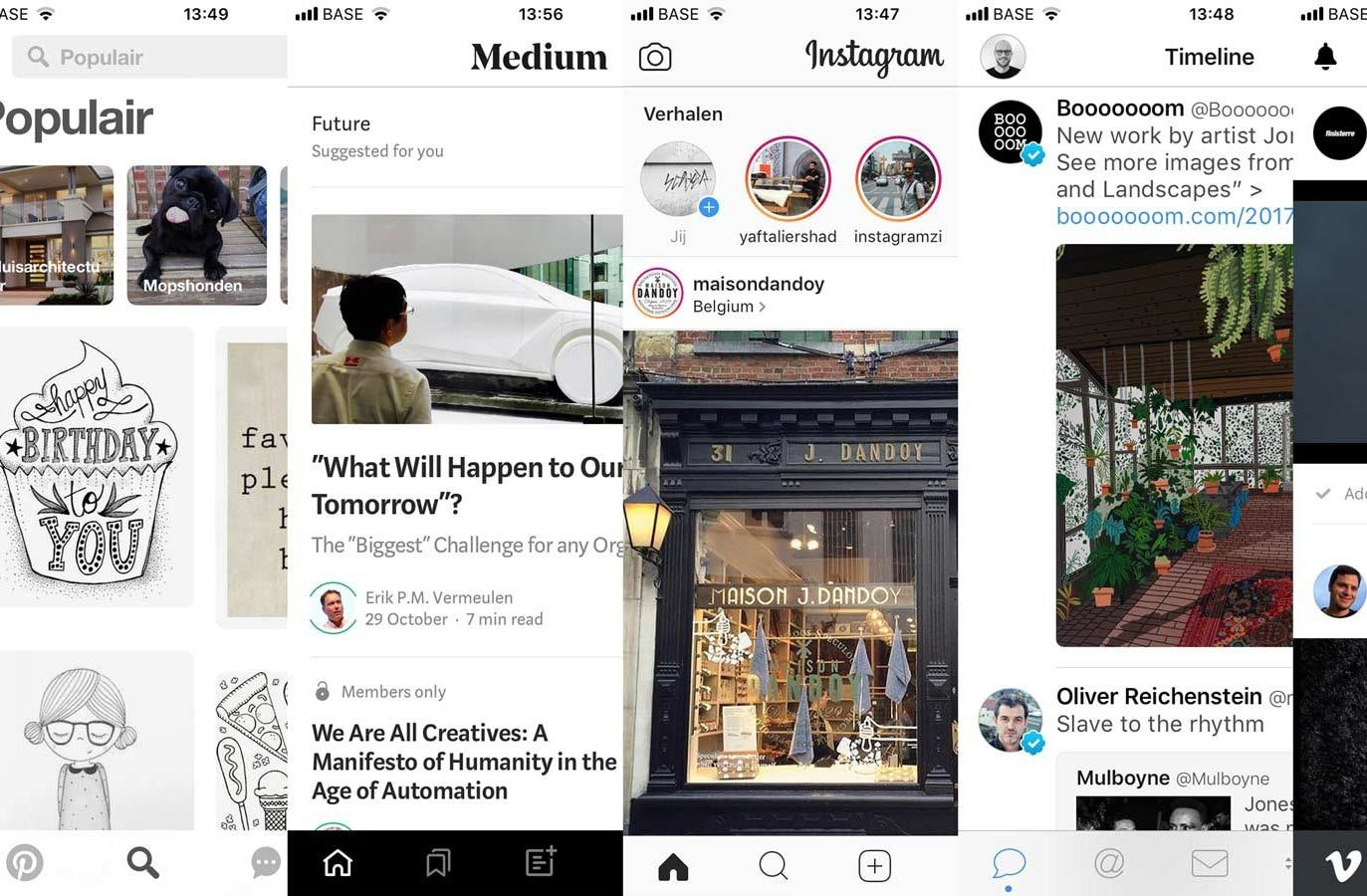 Pinterest, Medium, Instagram, Twitter, Vimeo screenshots illustrating sameness in interfaces