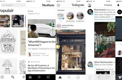 Pinterest, Medium, Instagram, Twitter, Vimeo screenshots illustrating sameness in interfaces