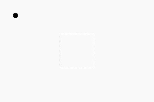 A dot far away from a square
