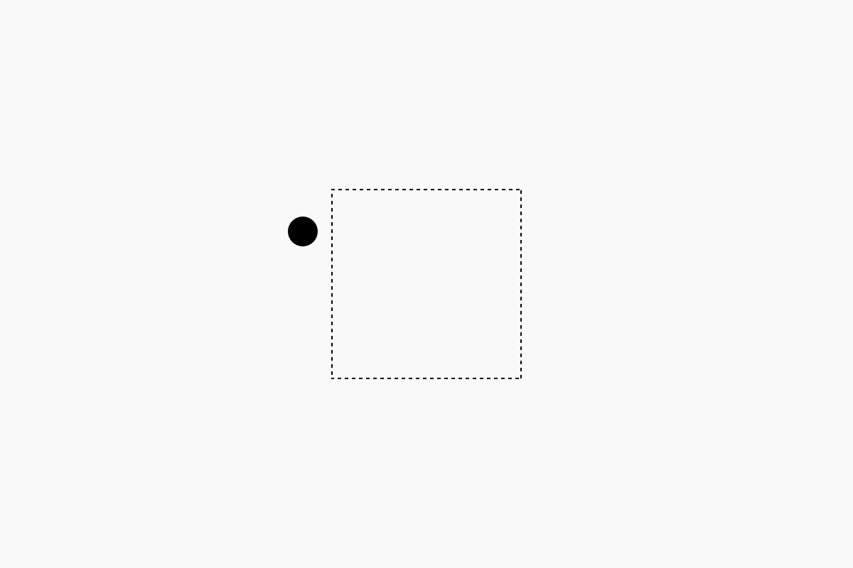 A dot right next to a square