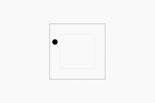 Dot in between the border of two squares