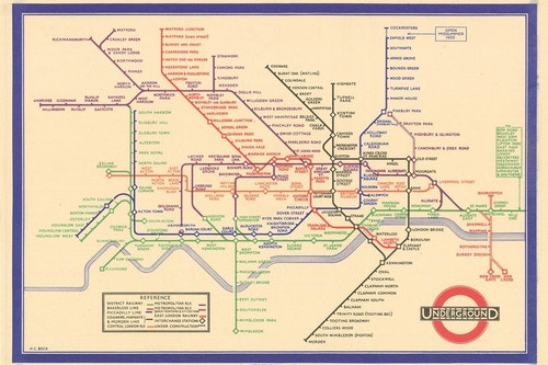 Harry Beck's London Underground map of 1933