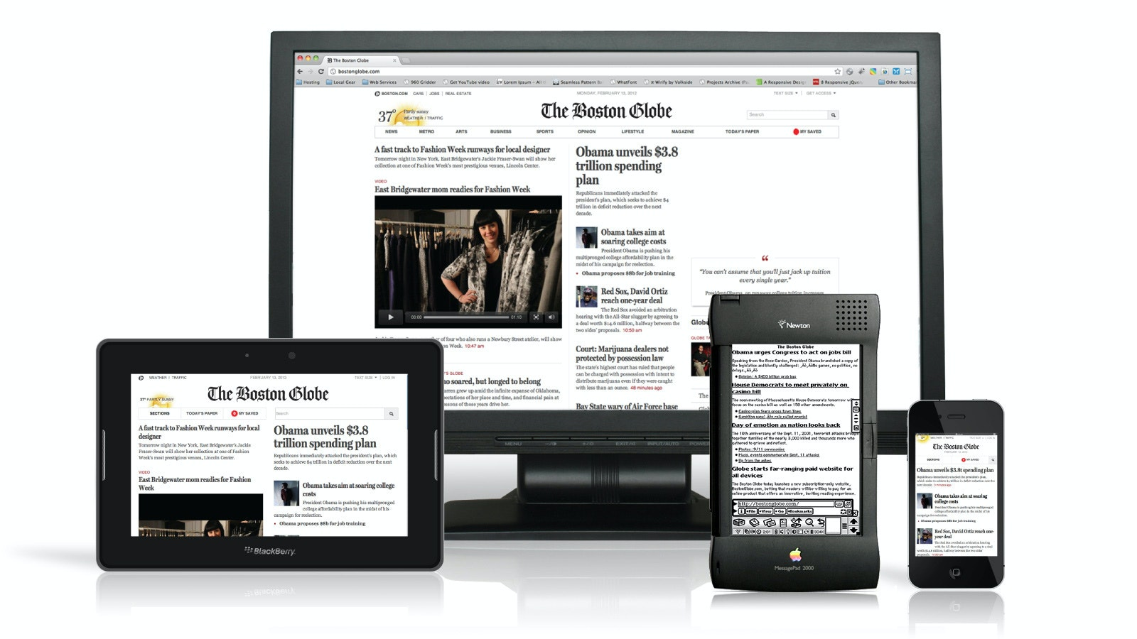 The Boston Globe website on all kinds of devices from desktop to mobile