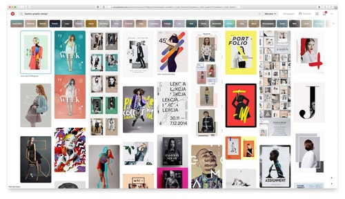 Pinterest search results page for fashion graphic design