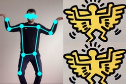 Person on the left, body position discovered by AI, matching drawings on the right
