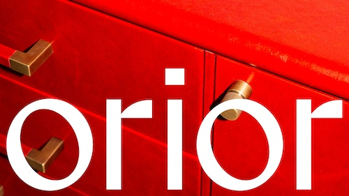 Orior Logo over image of red commode Bembo Credenza