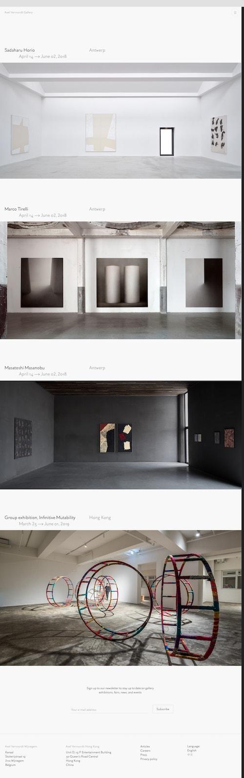 Screenshot of the homepage of the Axel Vervoordt Gallery website