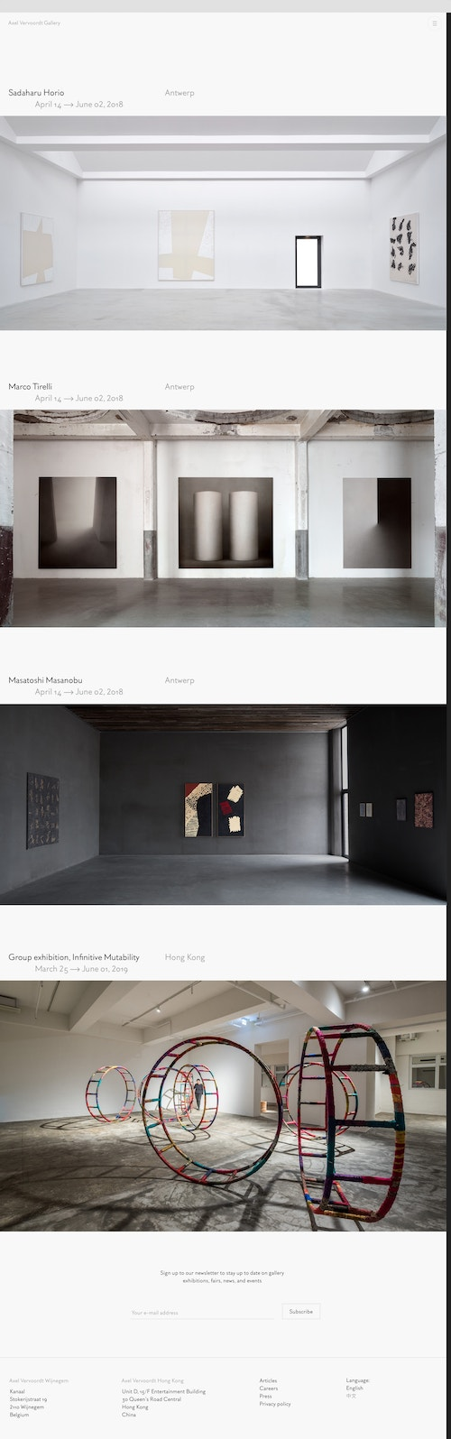 Screenshot of the homepage of the Axel Vervoordt Gallery website