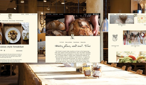 Pages of the website developed for Le Pain Quotidien