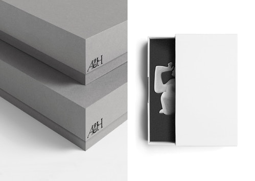 Photo collage of different view of a packaging designed for the Art and History Museum