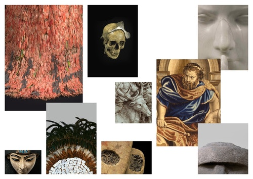 Patchwork of different artworks present in the Art and History Museum