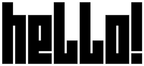"""Typography of Art Brussels applied to the word """"hello"""""""