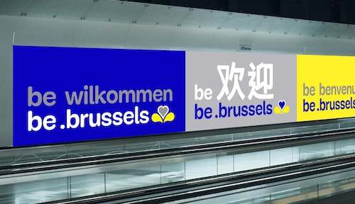 A simulation of be brussels banner by Base Design