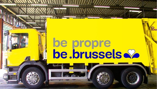 A simulation of be brussels logo on a truck