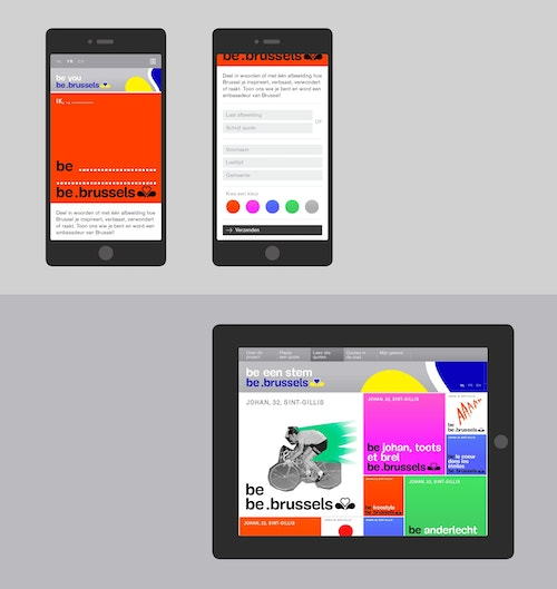 A simulation of be brussels app on mobile and tablet