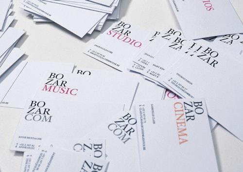 Pile of business cards designed for Bozar