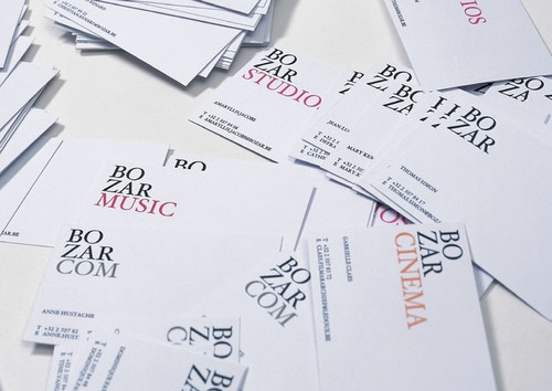 Pile of business cards designed for Bozar