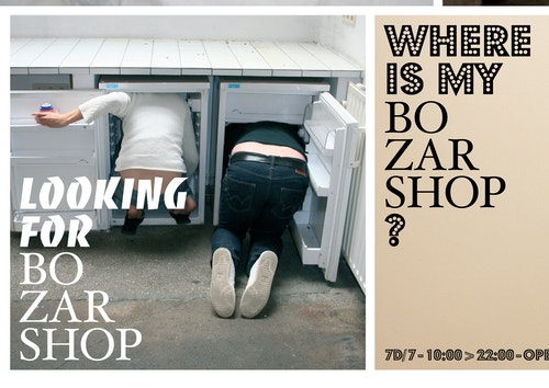 Poster of two men looking for something in fridges