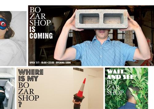 Collage of different posters designed for Bozar Shop