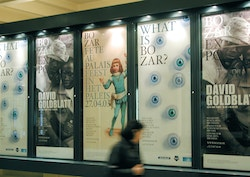 Several posters designed for Bozar at the entrance