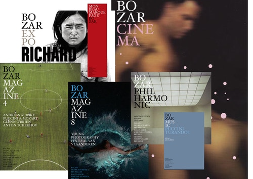 Collage of different covers made for Bozar