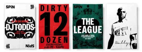Set of posters designed for the Spin on different sports activities