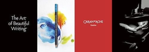Banner with the new visual identity designed for Caran Dache