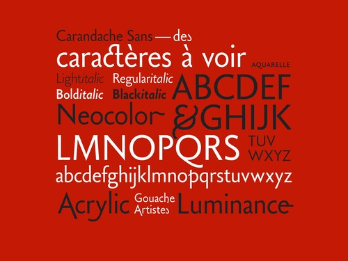 Visual with variations of the font designed for Carandache
