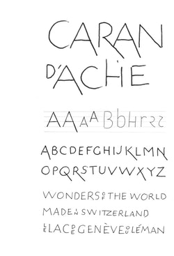 Handwriting draft of the new typography for Caran d'Ache