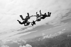 A group of people skydiving