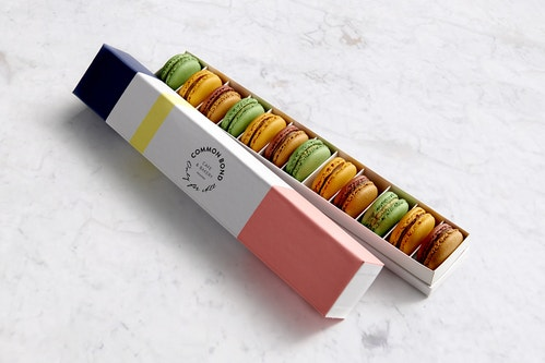 A packaging designed for macarons made by the Common Bond bakery