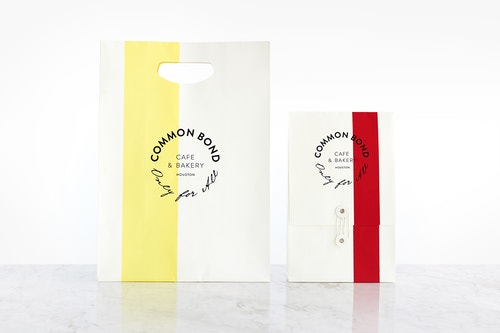 Two different sizes of packagings designed for Common Bond bakeries' take away