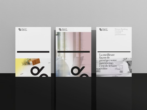 A group of books with a designed cover for Degroof Petercam