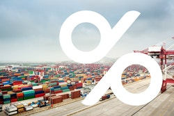 The new logo of Degroof Petercam on a background image of a zone of cargo containers