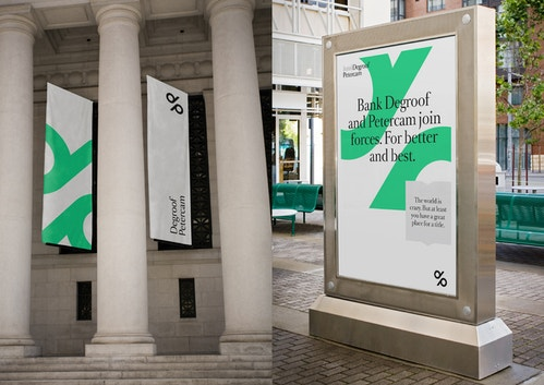 Application of a poster designed for Degroof Petercam of an advertising screen and kakemonos