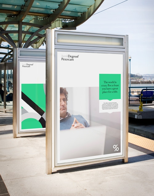 Application of two posters designed for Degroof Petercam's communication on advertising screen