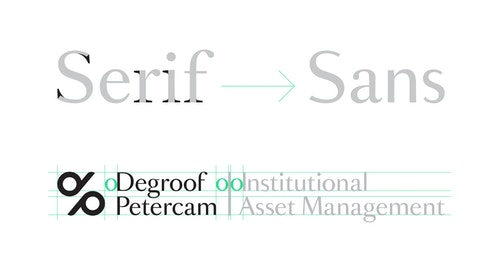 The new logo of Degroof Petercam with the spacing system used