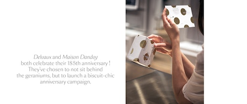 A copywriting about Delvaux and Maison Dandoy's collaboration to launch a biscuit anniversary campaign