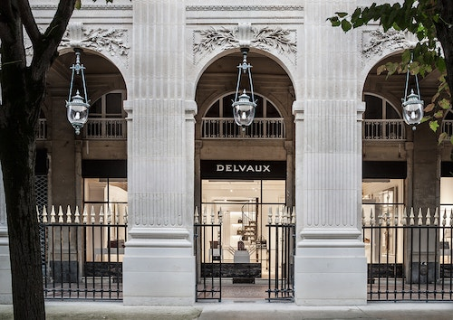 Facade of the Delvaux store in Paris