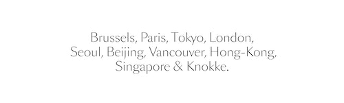 A white banner with a copywriting listing the different cities where operates Delvaux