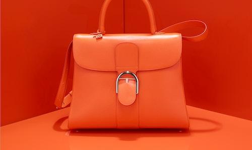 Delvaux brillant Mini Satchel bag on an orange background