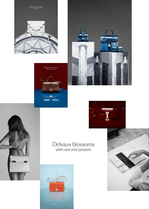 A photo collage with Delvaux bags in different situations