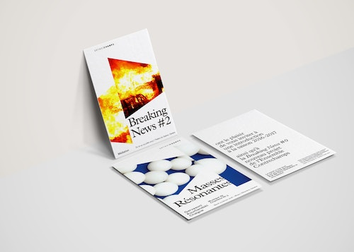 Three different flyers designed for Ensemble Contrechamps on a table