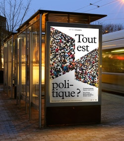 A poster designed for Ensemble Contrechamps in an advertising screen at a bus station