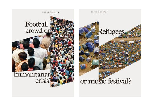 A patchwork of posters designed for Ensemble Contrechamps on the migrant crisis