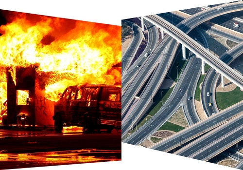 A photo collage of a ring road and a car burning