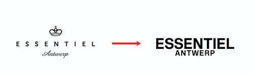 The former logo and the new logo of Essentiel Antwerp side to side
