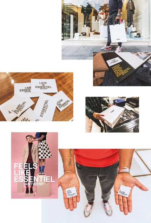 A photo collage with applications of different quotes on cards and packaging for Essentiel Antwerp branding