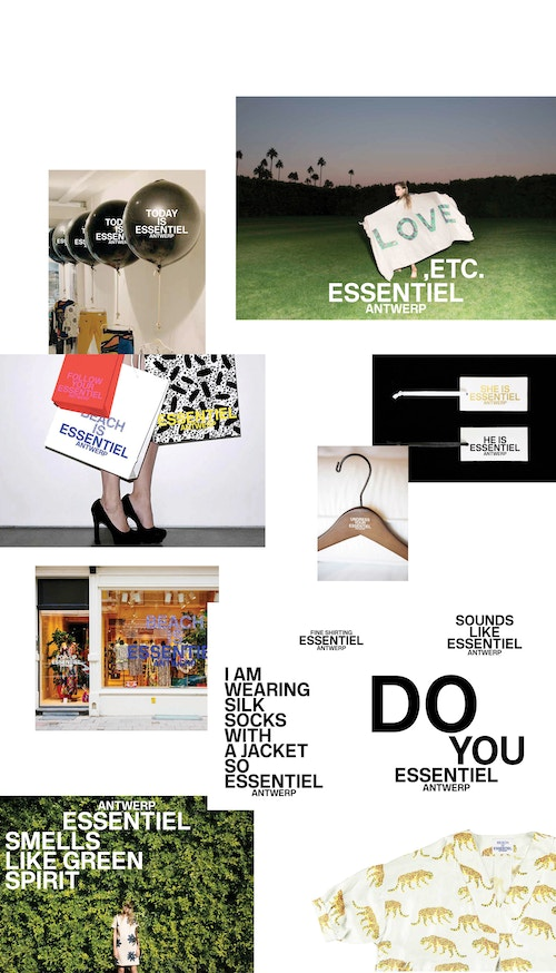 A moodboard made for Essentiel Antwerp consisting of a photo collage and different quotes