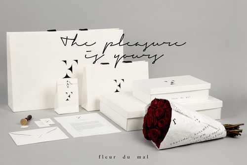 Set of packagings and stationery designed for Fleur Du Mal's products on a light grey background